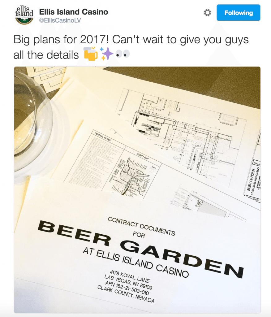 TravelZork Sunday News   Ellis Island Beer Garden Tweet