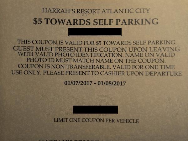 Harrah's Atlantic City SELF PARKING COUPON